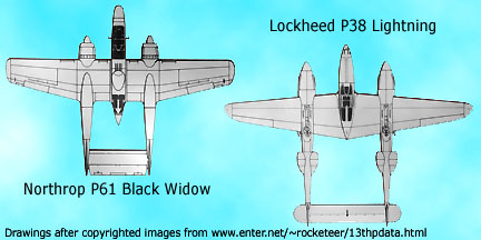 diagram images of P38 Lightnign and P61 Black Widow